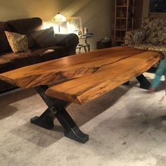 Custom built live edge natural wood coffee table by ArtzzyChainsaw