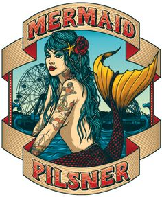 Coney Island Mermaid Pilsner Logo. Amazing identity.