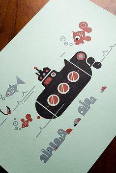 Submarine Letterpress Print: Luke Bott Modern Graphic Design, Graphic Design Inspiration, Daily Inspiration, Graphic Design Illustration, Graphic Illustration, Retro Illustrations, Pirate Ship Tattoos, Posters Diy, 8th Grade Art
