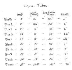 sizing chart for pillowcase dresses