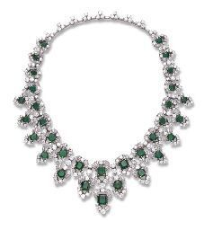 A MAGNIFICENT EMERALD AND DIAMOND NECKLACE, BY BULGARI
