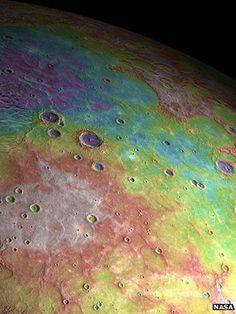 """Mercury's northern plains (Nasa).  False colour elevation information - white is high; blue is low"""""""