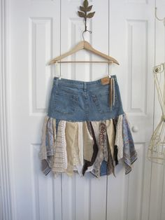 Boho fairy pixie skirt denim pixie skirt Upcycled por ShabyVintage