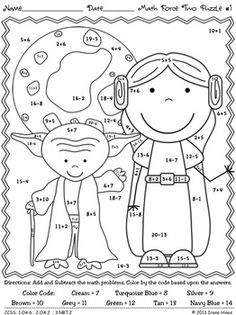 May The Facts Be With You 2 ~ A New Second Set Of Color By The Code Math Puzzle Printables! My first set was so popular with the children, I was asked to make more! Use the children's love of Star War(Step Children Teachers) Star Wars Classroom, Math Classroom, Kindergarten Math, Teaching Math, Teaching Resources, Maths Puzzles, Math Activities, Camping Activities, Math For Kids