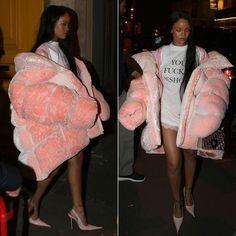 Rihanna Ella Boucht pink oversize puffer coat, Vetements you fuck'n asshole t-shirt, RoSa pointed toe slingback pumps, Dior Diorama Club monogram handbag, Fenty x Puma pink lace shorts