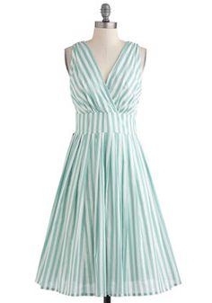Glamour Power to You Dress in Spearmint Stripe, ModCloth