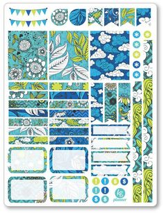 Blue Sky Decorating Kit / Weekly Spread Planner Stickers - Planner Penny