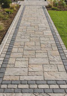 Backyard Walkway, Patio Slabs, Paver Walkway, Front Yard Landscaping, Patio Stone, Stone Walkways, Slate Patio, Driveways, Landscaping Ideas