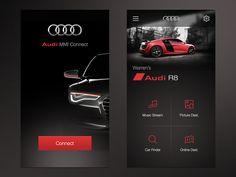 Audi MMi Connect App UI designed by Warren Lebovics. Connect with them on Dribbble;