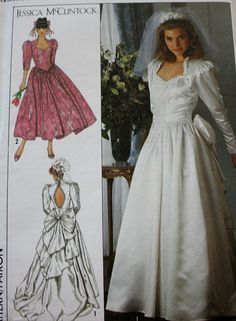 1980s Misses' Wedding Dress Designer Gowns by BluetreeSewingStudio, $10.00