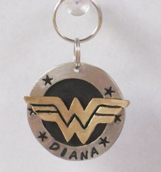 WONDER WOMAN dog name tag pet id tag. Handcrafted by NeumanStudios