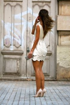 Easy Ways to Wear Scallops... scalloped hem white dress.