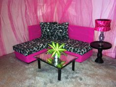 Barbie / Monster High / Bratz Furniture - Pink & Gray Cheetah Sectional Sofa