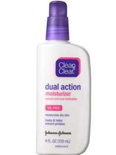 This moisturizer is best for acne prone and oily skin. Clean & Clear Dual Action Moisturizer, $5.00-8.00, www.cleanandclear.com