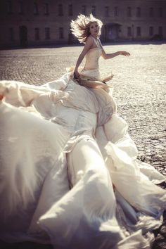 Long Wedding Dress with Very Long Puddle by ApilatCreativeAtelie