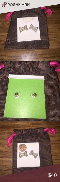 Kate Spade Bow Earrings Large pave Kate Spade earrings. Worn 1x. Come with packaging & dust bag. kate spade Jewelry Earrings