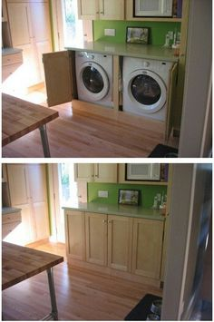 I would love for this discreet laundry set up to be in the kitchen. With the countertop for folding and the cabinet for storage, my only concern is where to put the ironing board.