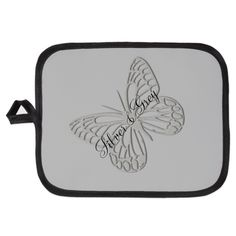 Silver Grey Butterfly Potholder #grey #silver #editable