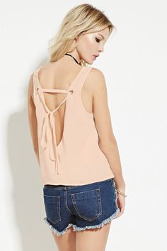 Self-Tie V-Cut Top