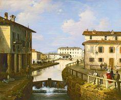 Angelo Inganni, il naviglio dal ponte di San Marco. Gallerie d'Italia, Milano.