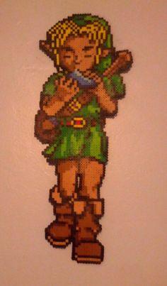 Legend of Zelda Link from Ocarina of Time perler beads by BreezyBeadz Perler Patterns, Bead Patterns, Diy Perler Bead Crafts, Pixel Beads, Cross Stitch Boards, Diy Perler Beads, The Legend Of Zelda, Melting Beads, Plastic Beads