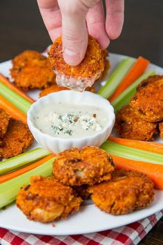 Buffalo Chicken Quinoa Fritters by closetcooking.com