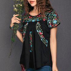 Vintage-SCALLOP-Mexican-BOHO-Floral-Embroidered-Hippie-Top-Cotton-Blouse-TA004