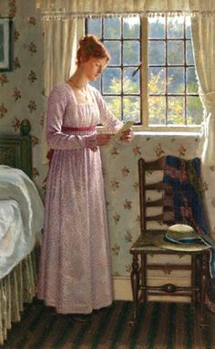 The Letter. Edmund Blair Leighton (British, 1853-1922). Mr. Blair Leighton's later works will show that he aims at getting as much variety of texture as possible on his canvas by different handling of the colours. This inevitably means a certain loss of spontaneity; but to gain one quality another must be sacrificed, and the painter has to make up his mind which is, to him, the most desirable to obtain.