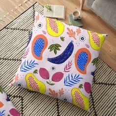 Stylish colorful pattern with exotic tropical fruits. fruit, banana, papaya, tropical, mango, summer, beach, lemon, lime, spring, botanical, citrus, flower, exotic, fresh, whimsical, painted, hand, kitchen, nature, colorful quilt Colorful Quilts, Modern Tropical, Tropical Fruits, Color Patterns, Floor Pillows, Mango, Lime, Minimalist, Banana