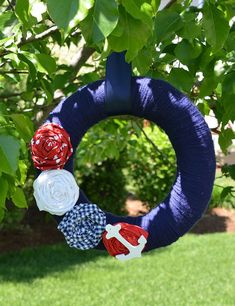 Nautical Wreath with Anchor Nautical Decor Red by KutItOutCrafts, $35.00
