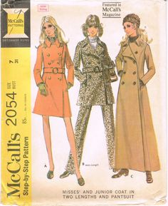 McCalls 2054 - Vintage 1960s Sewing Pattern - Misses's And Junior Coat In Two Lengths And Pantsuit