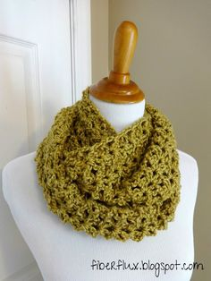Uses heartland yarn!  Fiber Flux...Adventures in Stitching: Free Crochet Pattern...Gold Leaf Infinity Scarf!