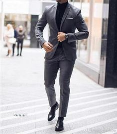 2019 Custom Made Two Buttons Groom Tuxedos Best man Notch Lapel Groomsman Men Wedding Suits Bridegroom (Jacket+Pants) Best Suits For Men, Cool Suits, Mens Suits, Grey Suit Wedding, Wedding Men, Wedding Tuxedos, Prom Dresses For Men, Prom Looks For Guys, Suit Fashion