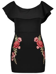 Floral Embroidered Ruffles Bodycon Dress in Black | Sammydress.com