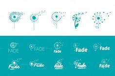 Flat set of fly dandelion symbols by AliceNoir on @creativemarket