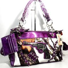 Mossy Oak Snow White Camo Concealed Carry Weapon Bling Gun Purse Western Purple