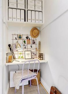 Convert your closet into the home office of your dreams. Small Home Offices, Small Office, Home Office Design, Home Office Decor, Home Decor, Study Corner, Small Room Design, My New Room, Small Spaces