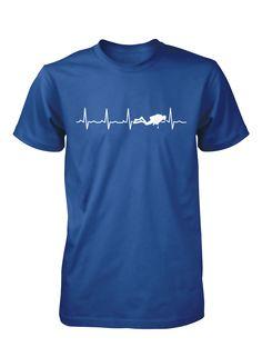 Scuba Heartbeat | #TeeVogue #travel #inspiration cool custom scuba diving t shirts | teevogue.com