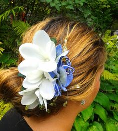TROPICALORCHID and PLUMERIA Hair Clip  Bridal by MalamaPua on Etsy
