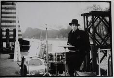 Mick behind the drum kit