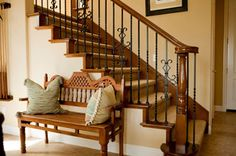 wood/iron stair rail & entry way bench  dust entry way @Eco Nuts #SpringCleaning