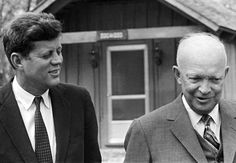 President John F. Kennedy and former President Dwight Eisenhower at Camp David in April 1961.  They talked about the U.S. invasion of Cuba's Bay of Pigs, a fiasco that Ike planned and JFK carried out.