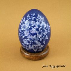 Pysanky Pisanki Ukrainian Polish Easter Egg Blue Floral Hand Decorated Chicken Egg Drapanki Dryapanky Scratch Technique