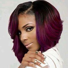 Purple Black Bob SideBangs Curls  Bob Weave HairStyles