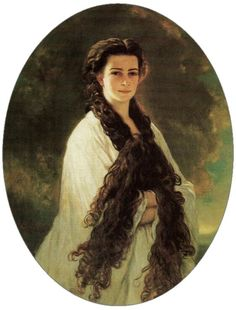 Franz Xaver Winterhalter - Empress Elisabeth of Austria (due to the movie also known now as Sissi, This was her husband's (Franz Joseph I of Austria) favorite portrait of her. Franz Xaver Winterhalter, Kaiser Franz Josef, Empress Sissi, Portraits, Vintage Photographs, Vintage Photos, 19th Century, Illustration, Fine Art