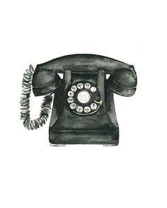 telephone watercolor giclee print  8x10 //  by eastashleystudio