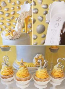 embre yellow starfish cupcakes and sugar high heel cake topper