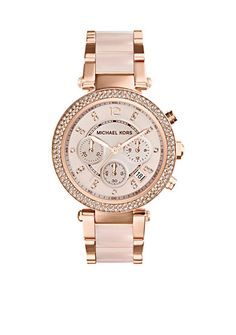 Michael Kors Women's Mid-Size Blush Acetate and Rose Gold Tone Stainless Steel Parker Chronograph Glitz Watch