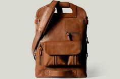 hard graft 2Unfold Laptop Bag/Heritage  - versatile laptop carrier spacious enough to house a 17″ MacBook and functions as a briefcase, shoulder bag or backpack. Aptly titled, it can fold into a courier bag or clutch to hide a smaller 13″ laptop.