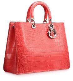 #Dior Matt light coral crocodile 'Diorissimo' bag